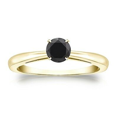 1 Ct Round Black Real 14K Yellow Gold Solitaire Engagement Wedding Promise Ring