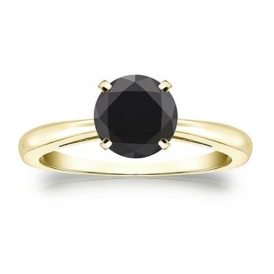 3 Ct Round Black Real 14K Yellow Gold Solitaire Engagement Wedding Promise Ring