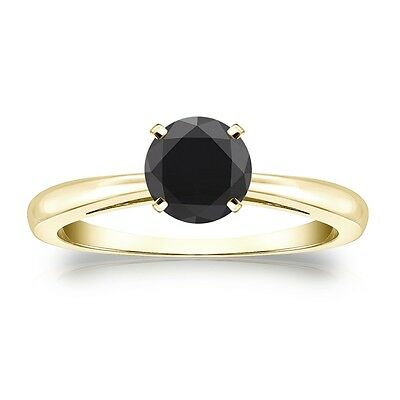 2 Ct Round Black Real 14K Yellow Gold Solitaire Engagement Wedding Promise Ring