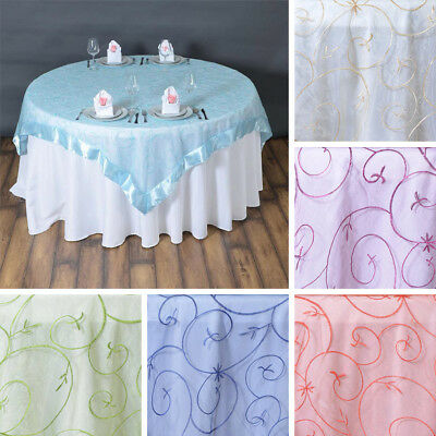 "24 x Embroidered Organza 72x72"" SQUARE Table OVERLAYS Wholesale Wedding Linens"