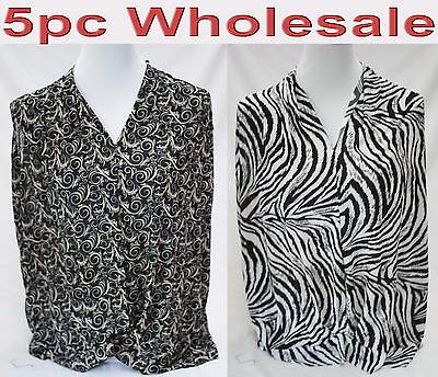 5pc Wholesale Women Ladies Top Stretch Loose V-Neck Blouse Free Size Mixed