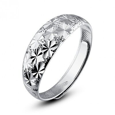 Moon Wings White Gold Plated Sterling Silver Adjustable Open Ring Men's Ring. Sh
