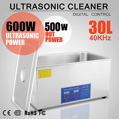 Pro Stainless Steel 30l Liter Ultrasonic Cleaner Industry Heated W/ Timer Heater