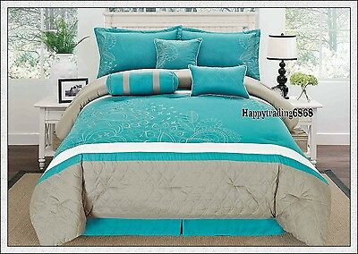 Turquoise Grey White Embroidery 7pc* KING QUEEN Comforter Set Valance 3 Cushion