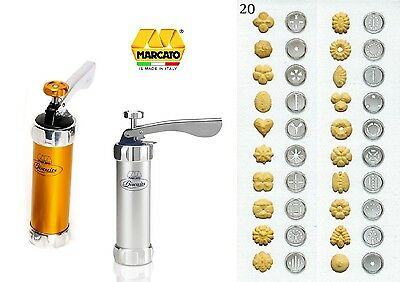Marcato Biscuits (Cookies) Maker Pump&Press Machine + 20 Pastry Cutting Patterns