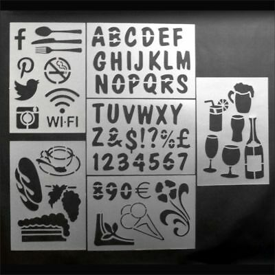 Re-Usable Chalkboard Stencils Cafe & Bistro Themes