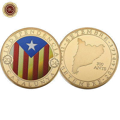 2014 Catalunya Independancia Fine  Gold Plated Challenge Coin Free Protector