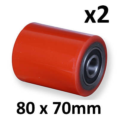 X2 PALLET TRUCK ROLLER WHEEL / POLYURETHANE COMPLETE WITH BEARINGS 80X70mm