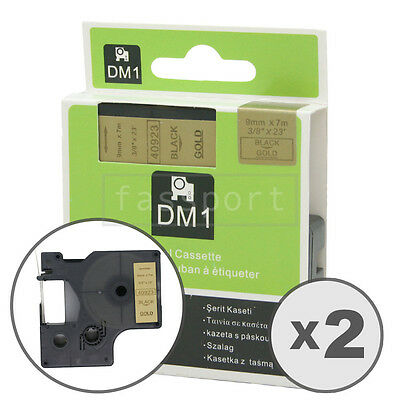 2pk Black on Gold Tape Label Compatible for DYMO 40923 D1 9mm 3/8""