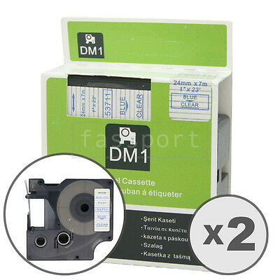 """2pk Blue on Clear Tape Label Compatible for DYMO 53711 D1 24mm 1"""""""