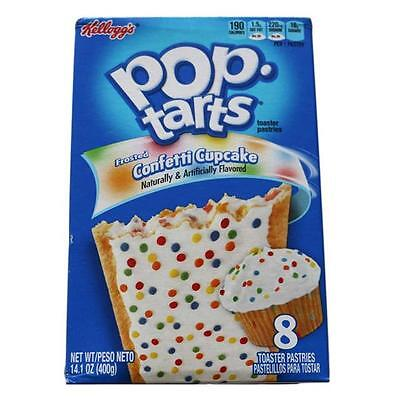 2x Kelloggs Pop Tarts Toaster Pastries 8 Pack - Frosted Confetti Cupcake Flavour