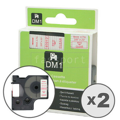 2pk Red on Clear Tape Label Compatible for DYMO 40912 D1 9mm 3/8""