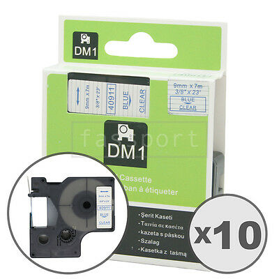 10pk Blue on Clear Tape Label Compatible for DYMO 40911 D1 9mm 3/8""