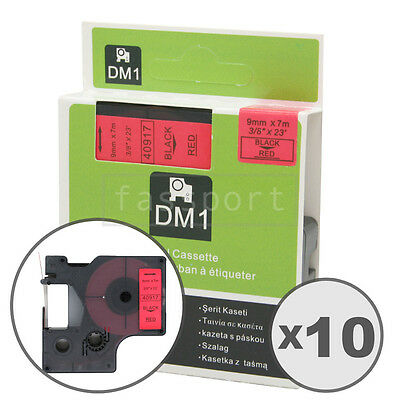 10pk Black on Red Tape Label Compatible for DYMO 40917 D1 9mm 3/8""