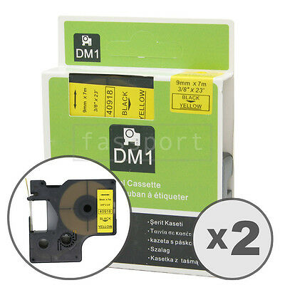 2pk Black on Yellow Tape Label Compatible for DYMO 40918 D1 9mm 3/8""