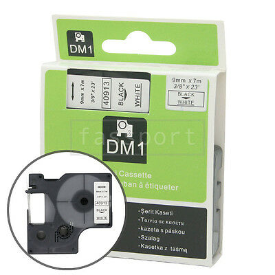1pk Black on White Tape Label Compatible for DYMO 40913 D1 9mm 3/8""