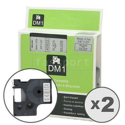 2pk Black on Silver Tape Label Compatible for DYMO 40922 D1 9mm 3/8""