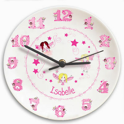 Personalised with Childrens name Fairy Clock great gift for child's girls room