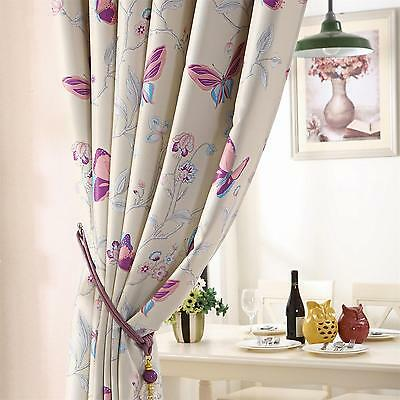 Beige Butterfly Curtains Eyelet Thermal Blackout Curtain Pair Kids Childrens New