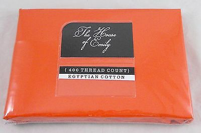 """Orange Egyptian Cotton Percale 12"""" Extra Deep Fitted Sheet 400 Thread Count"""