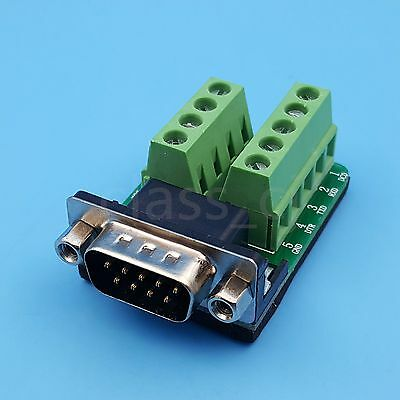 DB9 Male Nut 9Pin Plug Breakout Terminals Solderless D-SUB Connector Adapter