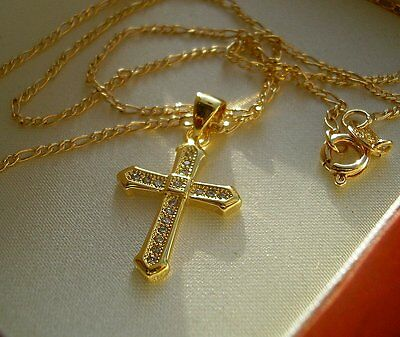 STAMPED 9ct GOLD CROSS CHAIN GF CRAZY PRICE!!!  61