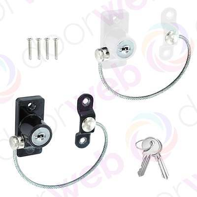 2 PACK UPVC SAFETY WINDOW RESTRICTOR Lock Door Child Security Chain Wire Cable