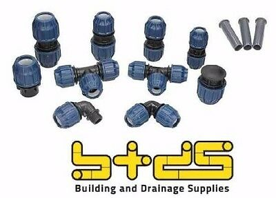 MDPE Plastic Blue Water Pipe Compression Fittings Pipe 25mm / 32mm