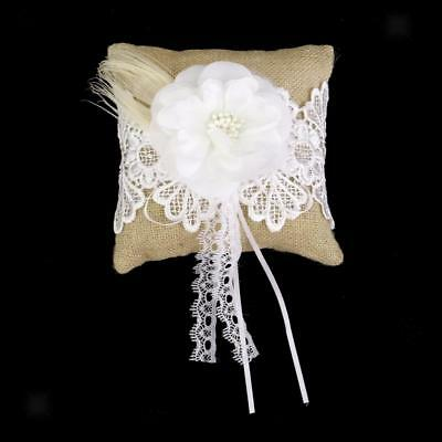Rustic Wedding Party Burlap Ring Bearer Pillow Pearls Flower & Beige Lace