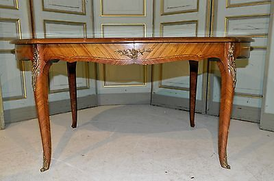 Antique French Dining Room Table BEAUTIFUL Inlay Styling and Bronze Accents