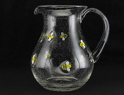 Quality Thick Glass Bumble Bee Embossed Jug / Pitcher by Gisela Graham * Gift