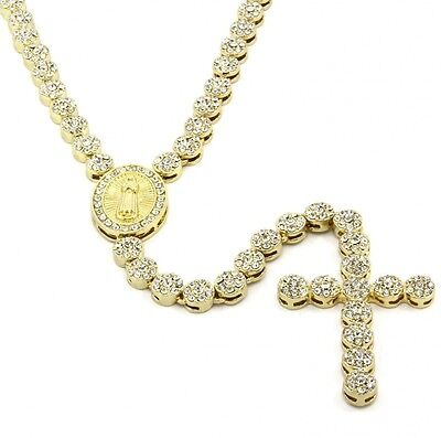 Iced Out 90cm Gold Rosary Cluster Simulated Diamond Chain Necklace Cross 14K Fin