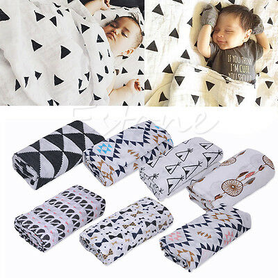 100% Muslin Cotton Newborn Infant Swaddle Baby Bamboo Blanket Bedding Covers