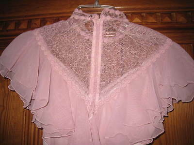 Vntg Pink Formal GOWN DRESS LaceTRIM Full Skirt sz S Made In the USA~EUC~REDUCED