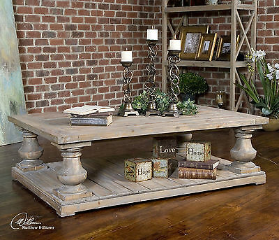 """Large 60"""" Solid Reclaimed Fir Wood Sun Faded Finish Coffee Table Vintage Style"""