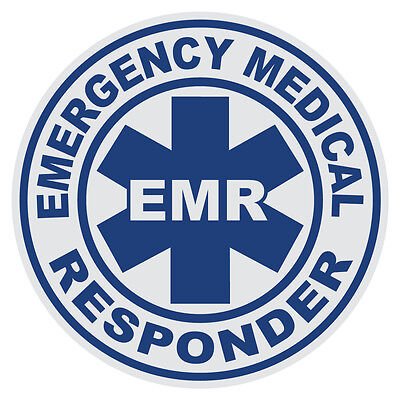Emergency Medical Responder EMR Large Round Reflective Firefighter Decal Sticker