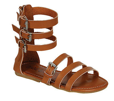 Girls Gladiator Ankle Zipper Buckle Sandals size 11-4