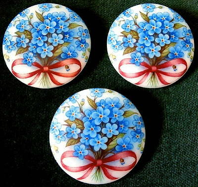 3 Czech Unique Glass Buttons #G292 - XXLarge FORGET-ME-NOT - SWEET