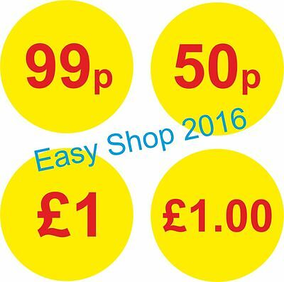 38mm Shop Price Sticker Tags Round Sticky Yellow Labels 200,500,1000 per Roll