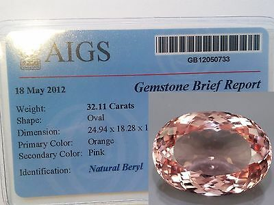 HUGE! Natural TCW 32.11 ct 25x18mm Oval MORGANITE (PINK EMERALD) + AIGS CERTIF.