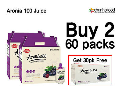 Chunho Aronia 100 Juice (Special Promotion) Buy 2 60 Pack, get 30 Pack Free