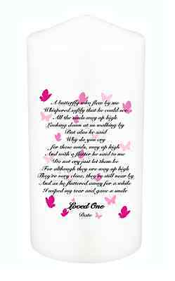 Personalised Memorial Remembrance Absence Candle A Butterfly Who Flew By Me med