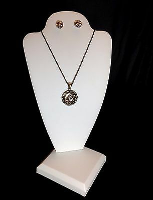 THREE White Leatherette Necklace Pendant Earring Display Stands Jewelry