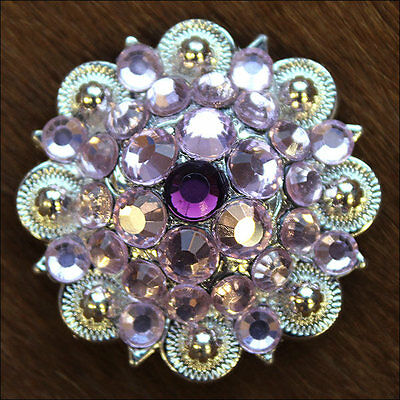 1 PC PINK PURPLE CRYSTALS 1-1/4in. BERRY CONCHO RHINESTONE HEADSTALL SADDLE
