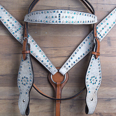 Western Leather Horse Bridle Headstall Breast Collar Tan Off White