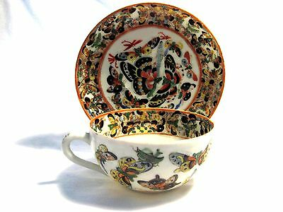 """Antique Enameled Chinese """"Thousand Butterfly"""" Porcelain Tea Cup/Saucer C 1870s"""