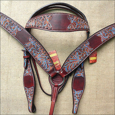Hilason Western Leather Horse Bridle Headstall Breast Collar Mahogany Turquoise