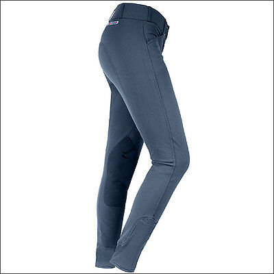 """46"""" Horze Grand Prix Womens Extend Leather Knee Patch Stretch Breeches Steelgray"""