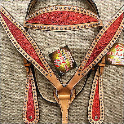 Hilason Western Leather Horse Headstall Bridle Breast Collar Tan Red Inlay