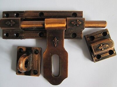 Vintage slide latch bolt door hasp cast iron rustic long handle Double lock tool